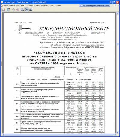 Рекомендуемые индексы пересчета сметной стоимости строительства на октябрь 2009 года 2