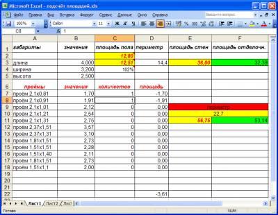 Подсчет площадей помещения в Excel