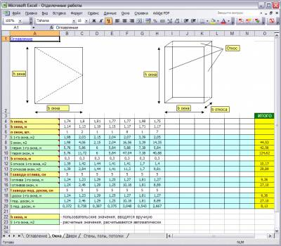 Расчет площадей отделки в Excel 3