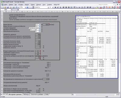 Расчет состава бетона в Excel