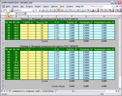 Подсчет объемов работ по окраске, изоляции и покровного слоя изоляции труб в Excel