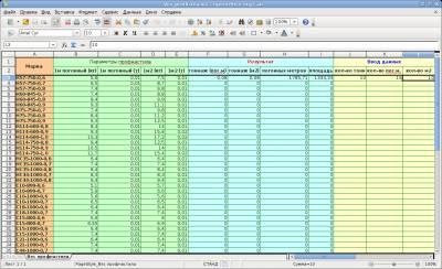 Подсчет веса профилированных листов в Excel